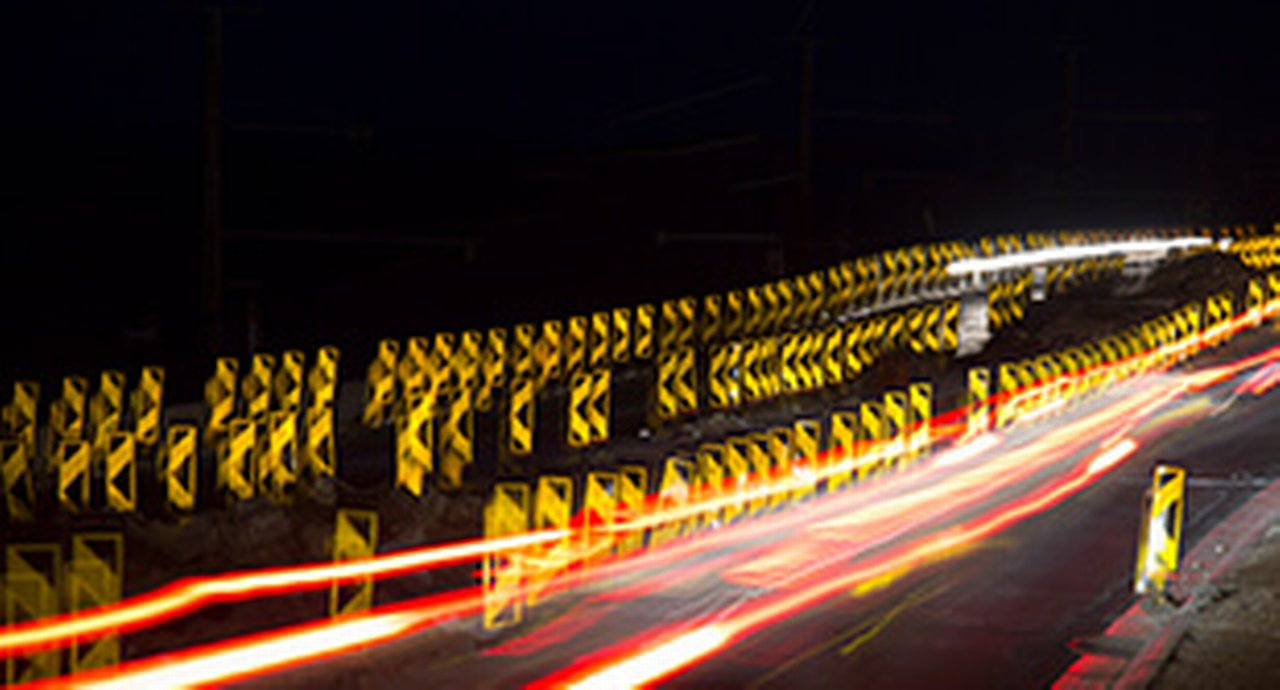 Long exposure of a motorway construction site at night