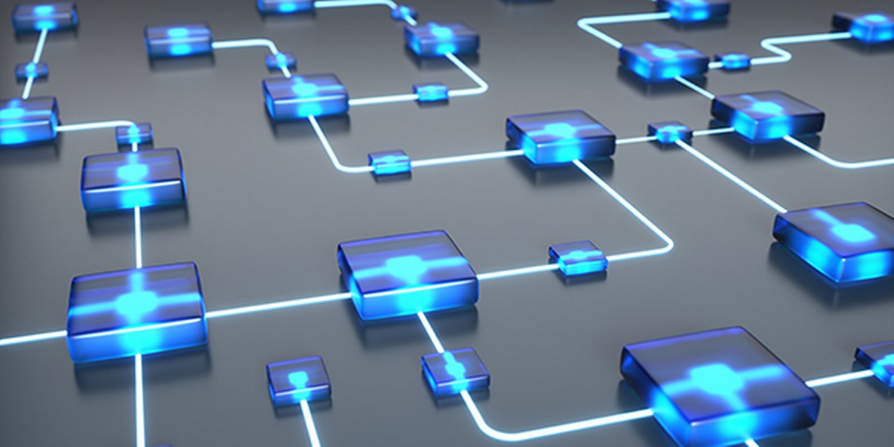 A circuit board containing of luminous blue nodes connected with with glowing circuits