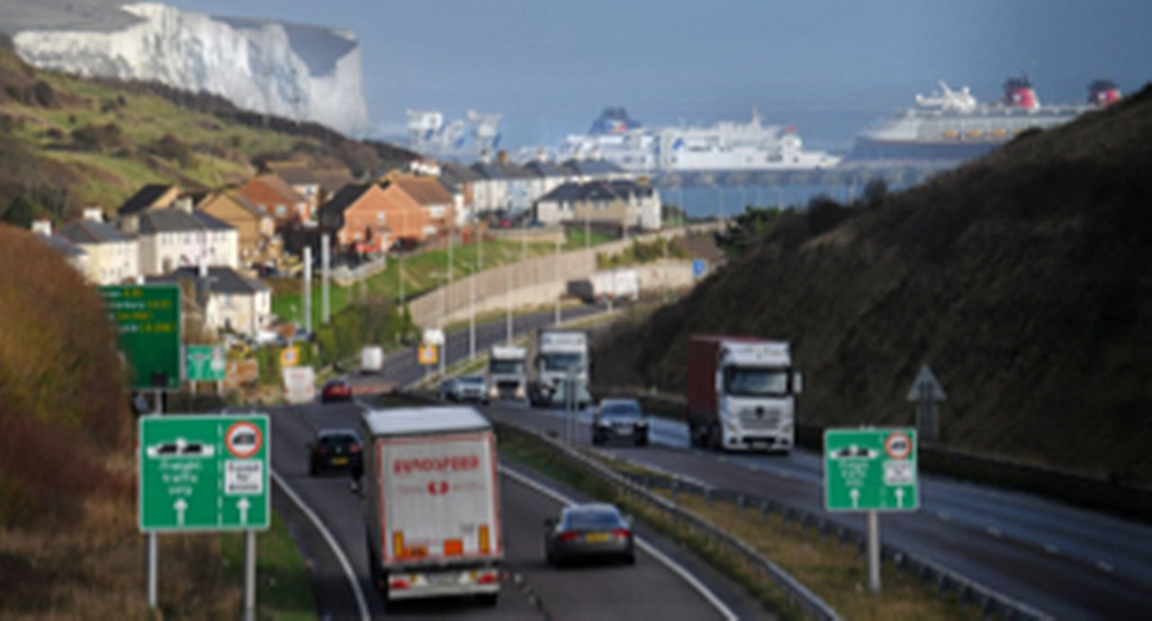 The port of Dover, UK, which became overcrowded on Christmas Eve 2020